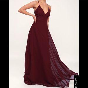 Madalyn Burgundy Lace Maxi Dress